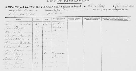 1837 Boston ship passenger list